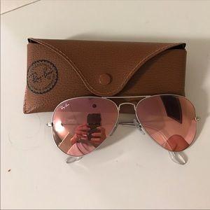 NWOT Ray Ban Sunglasses. Coral Flash Lens